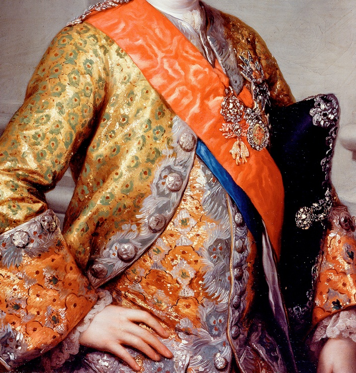Another amazing cuff. Detail from Portrait of Antonio Pascual de Borbón y Sajonia, infante de España, 1767, Anton Rafael Mengs. Sitter is about 11 years old in this portrait.