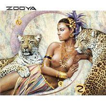 ZOOYA Nueva 5d DIY Diamante Pintura de punto de Cruz Kit de Pintura Decorativa de La Sala Muchacha de la Belleza Y El Leopardo BB413(China (Mainland))