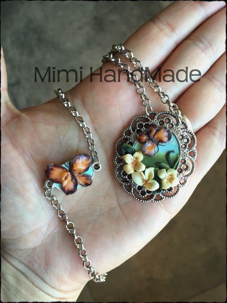 Parure fimo hand Made polymer clay pasta polimerica farfalla collana necklace bracciale fiore