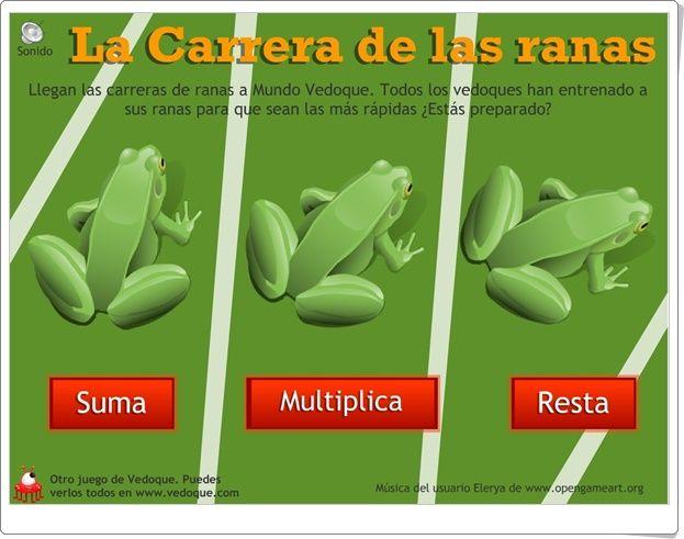 """""""La carrera de las ranas"""" (Cálculo mental de Primaria)"""