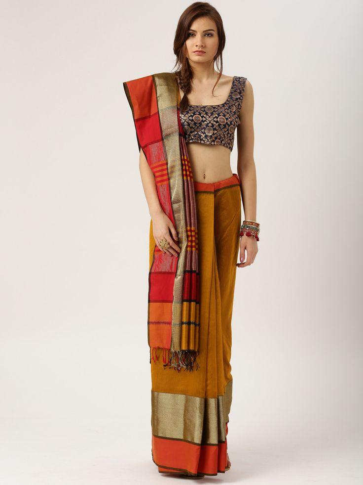 Gocoop Copper Toned Maheshwari Traditional Handloom Saree