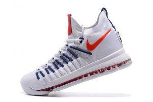 9d7882d4967 Men s Nike Zoom KD 9 Elite Kevin Durant White Blue Red boys Basketball Shoes