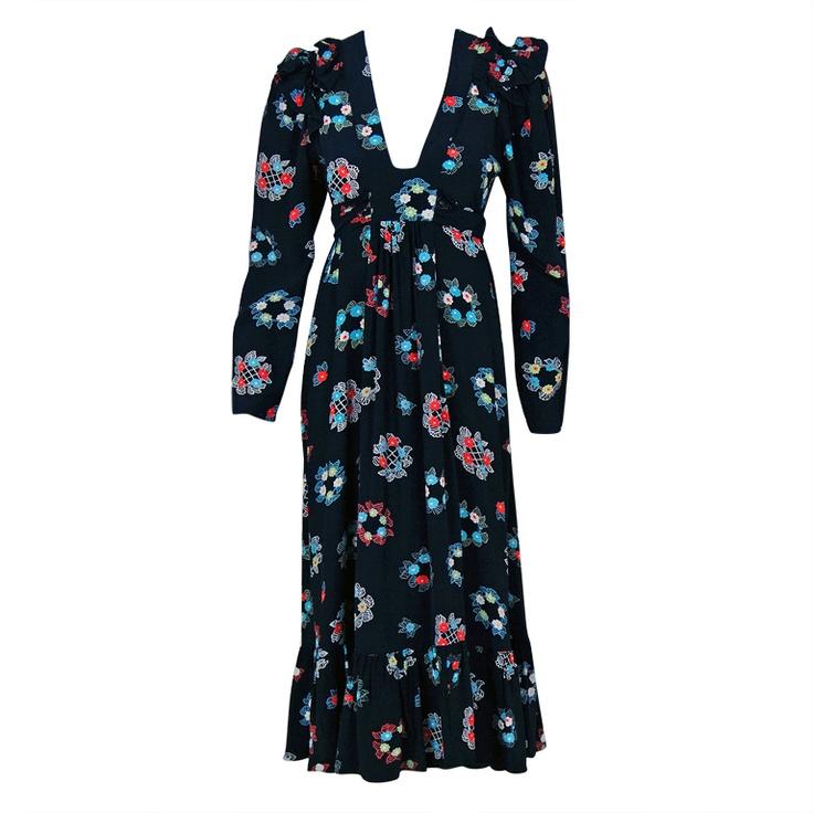1970's Vintage Ossie Clark Designer-Couture Colorful Celia Birtwell Silk-Print Tea Dress
