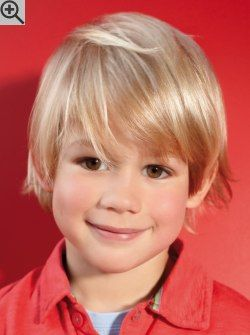 Easy care haircut for little boys. Rather long, with layers and deep bangs that are swept to the side.