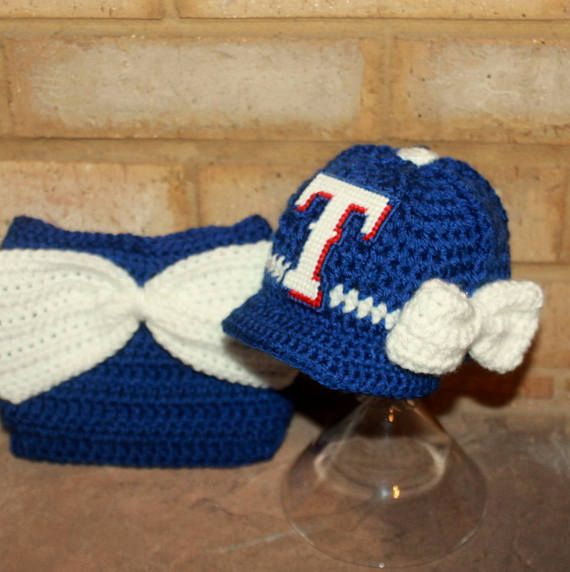 Girls Texas Rangers inspired baseball hat and big bow diaper