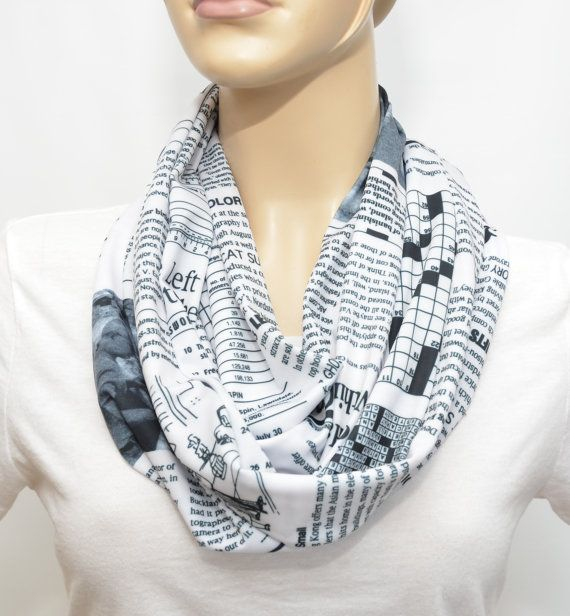 Black & White  infinity scarf with newspaper print by Pixiesdance, $19.00