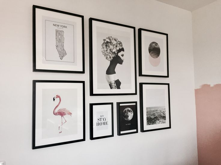 Gallery wall with Ikea RIBBA frames.