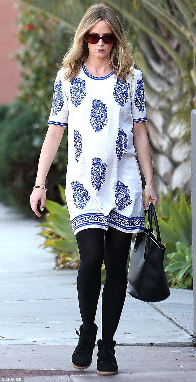 Baby blues: Pregnant Emily Blunt went to Cafe Gratitude in Los Angeles on Friday for lunch with a friend