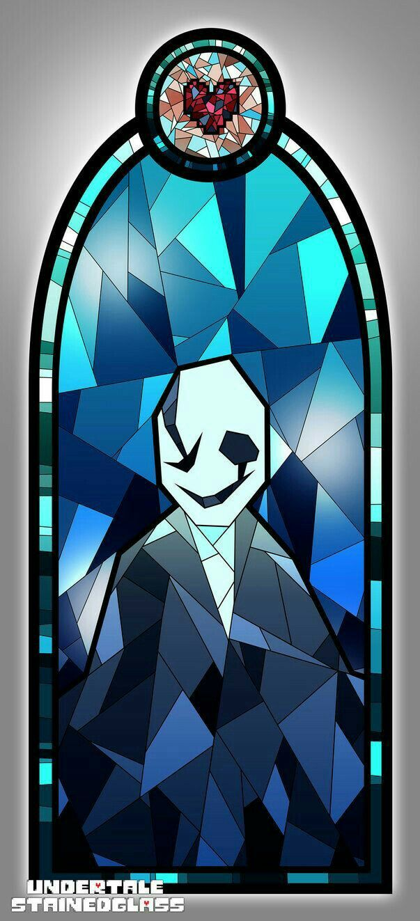 Sans, painted glass, window, stained glass; Undertale