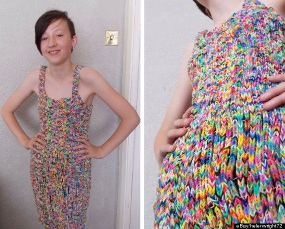 Check out this amazing Rainbow Loom dress that a Welsh mom made for her 12-yr-old daughter! It took 20,000 bands and sold for $291,000 on eBay!