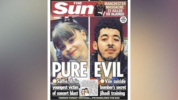 PHOTO: The cover of the May 24, 2017 issue of the British newspaper The Sun, features a photo of suspected attacker Salman Abedi. (The Sun)