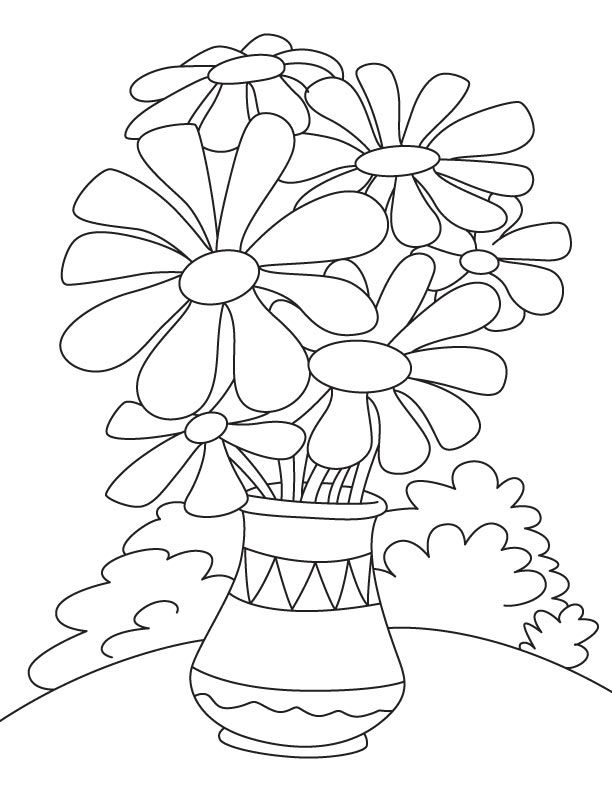 Daisy flower pot coloring page Bug coloring pages