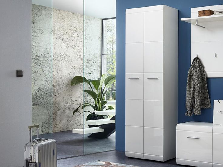 Contemporary high gloss white narrow wardrobe with two doors by Germania.