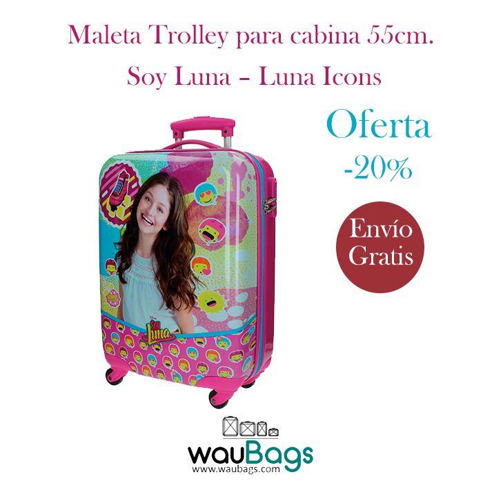 """Consigue en waubags.com la Maleta Trolley de la colección """"Luna Icons"""" de Soy Luna, ahora por tan solo 88€ con gastos de envío gratis!!!  @waubags #soyluna #luna #niña #maleta #trolley #cabina #oferta #descuento"""
