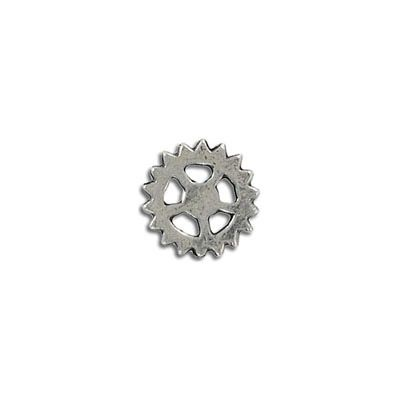Connector, 14mm, gear, antique silver, lead free