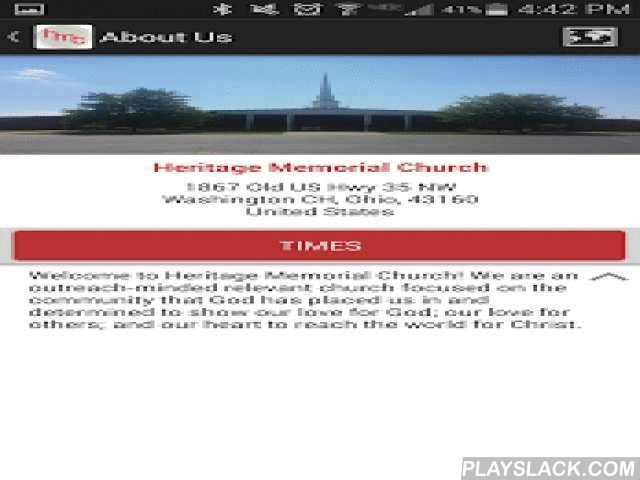 Heritage Memorial Church  Android App - playslack.com , With the Heritage Memorial Church App you'll always be only a tap away from our church's sermons, blogs, videos, calendar events and more!- Instant access to sermons.- Add events directly to your device calendar.- Integrated Maps and directions.- Receive Important Alert Notifications.- Blogs, Social Network Integration, Videos, More!Thank you for downloading our Heritage Memorial Church App!