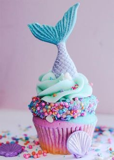 Mermaid Cupcake: multicolored cupcake, colored icing, and chocolate covered ice cream cone