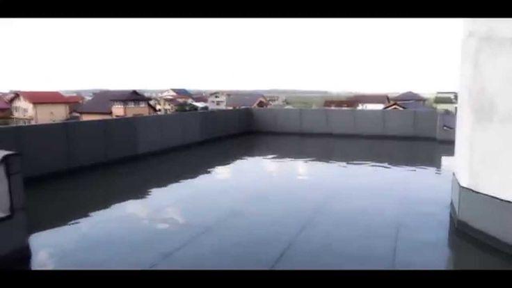 Waterproofing test on a flat roof. Test etansare hidroizolatie.
