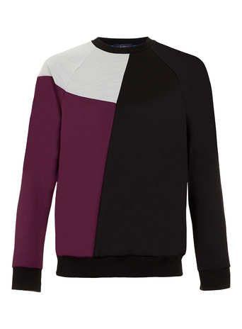 Black/Purple/Light Grey Poly Tricot Curve Panel Sweatshirt - Topman price: £28.00