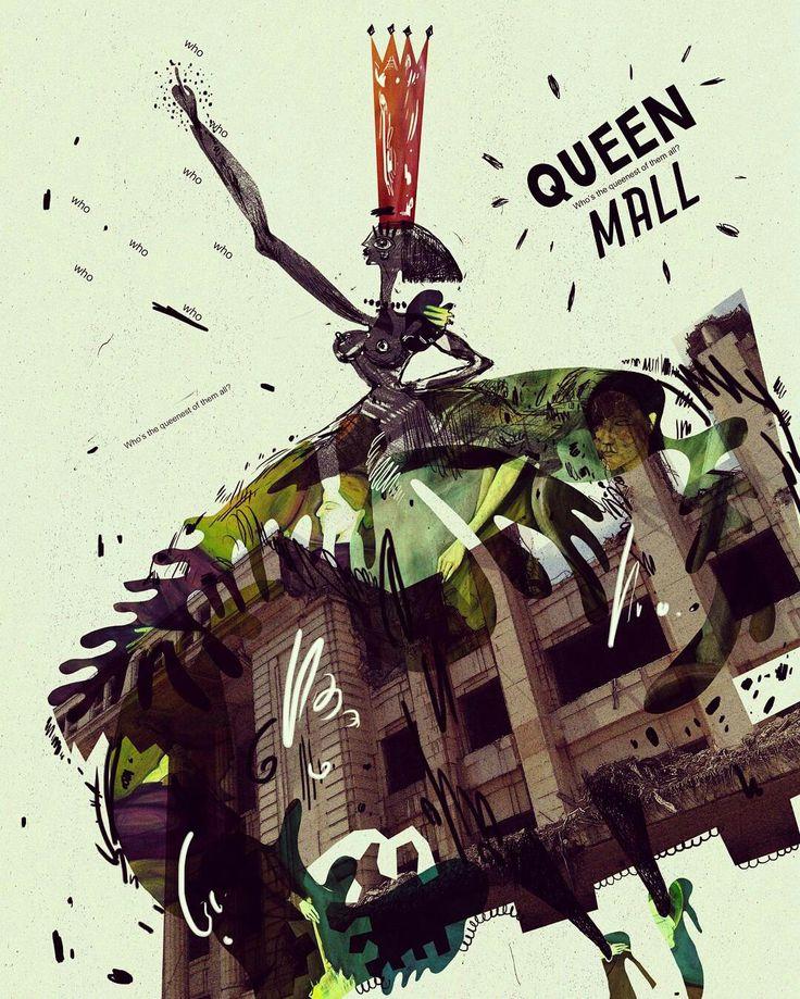 #poster #artsy #instaartsy #mixedmedia #wacom #drawing #collage #illustrator #illustration #iuliaignatillustration #lmrignat #behancereviews #behance #drawingoftheday #artoftheday #illustagram #queen #dress #mall #photoshop