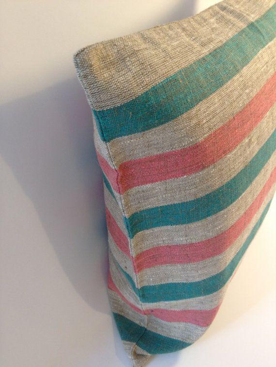 Pink & Mint Green Linen Pillow by NoraQuinonez for etsy.com/shop/noraquinonez: