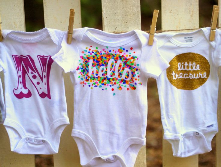 """15 modern, cool, DIY Freezer paper stencil onesie designs you can do by hand. Large Initial, Rainbow Burst HELLO, and golden """"little treasure.""""  Put Up Your Dukes: Fifteensies > Onesies"""
