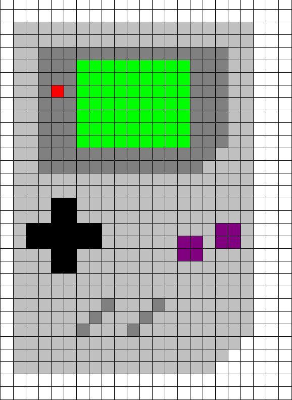 diagrama de punto de cruz de Gameboy clásica