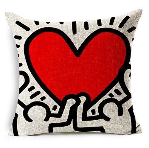 Copricuscini e federe, Hidoon® Modern Keith Haring Creative Abstract Animale La pittura Rosso HeArte Divano Semplice Casa arredamento Design Cuscini decorativi e accessoris Cuscino Copricuscinis