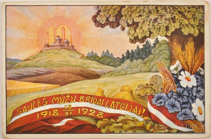 Saules mūžu brīvai Latvijai. atklātne, Latvijai 10 gadi, 1928 gads, 20-30tie g. 20 gs., 9.5 x 14.5 cm
