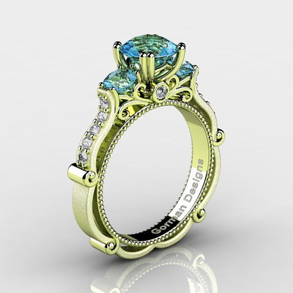 Classic Italian 18K Green Gold 1.5 Ct Blue Topaz by GormanDesigns