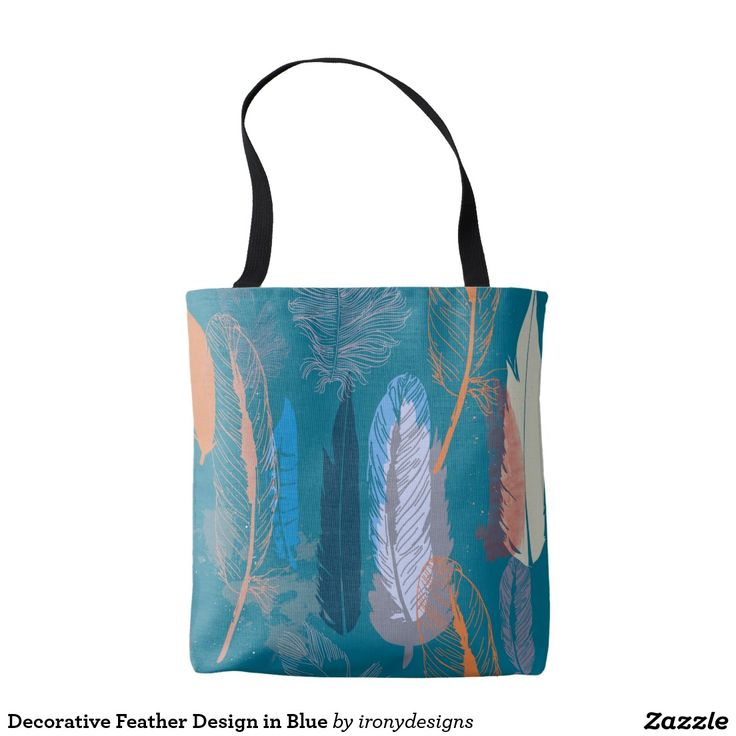 Decorative Feather Design in Blue Tote Bag Decorative design of Feathers as a Pattern done in vector to give a nice clean look, done in different shades of blue and orange. A lush and elegant teal, Biscay Bay splashes up against more heated tones with its cool touch.