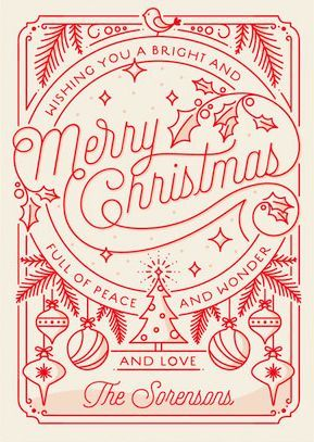 Merry Little Line Drawing Holiday Card from http://Minted.com
