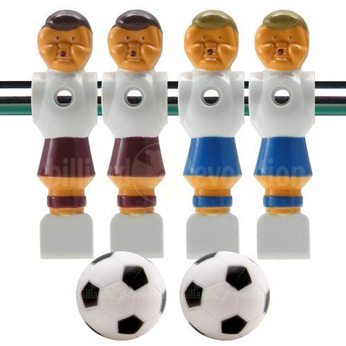 "4 Old Style Red and Blue Foosball Men and 2 Soccer Balls by Billiard Evolution. $9.00. These four old style foosball men will fit any table that uses standard 5/8"" sized foosball rods. Set includes two red and two blue tournament style soccer men, and two foosballs, soccer style. The nut and bolt used to attach each foosball man to a foosball rod are not included."
