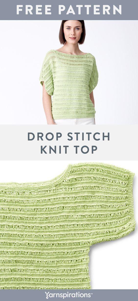 Free Drop Stitch Knit Top pattern in Patons Grace yarn ...