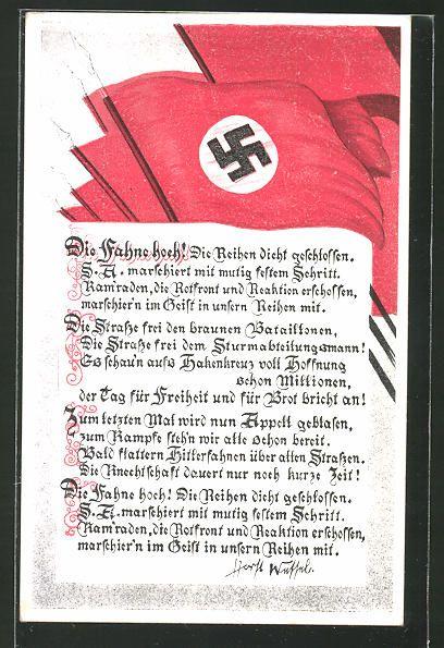 old postcard: AK Marschlied: Die Fahne hoch, Horst Wessel-Lied, Hakenkreuzfahnen