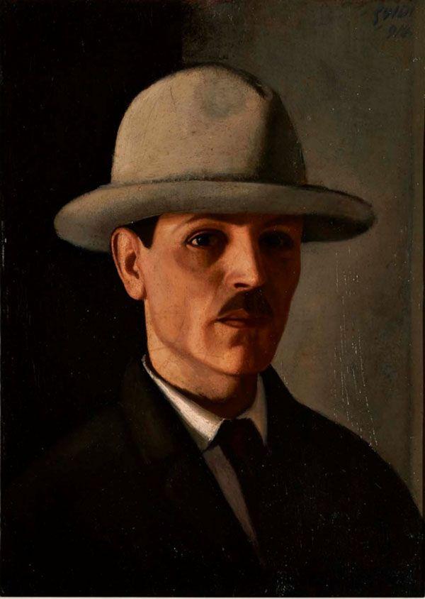 Virgilio Guidi,  Autoritratto con cappello,  1914,  olio su tela applicata su cartone, cm 54,5 x 38,5, Galleria d'Arte Moderna Achille Forti