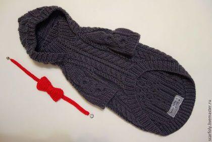 Одежда для собак, ручной работы. Ярмарка Мастеров - ручная работа. Купить Свитер с капюшоном Графит с красным  для собак. Handmade.