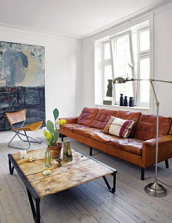 Superb kleines Wohnzimmer Landhausstil gestalten Ledersofa niedriger Holztisch