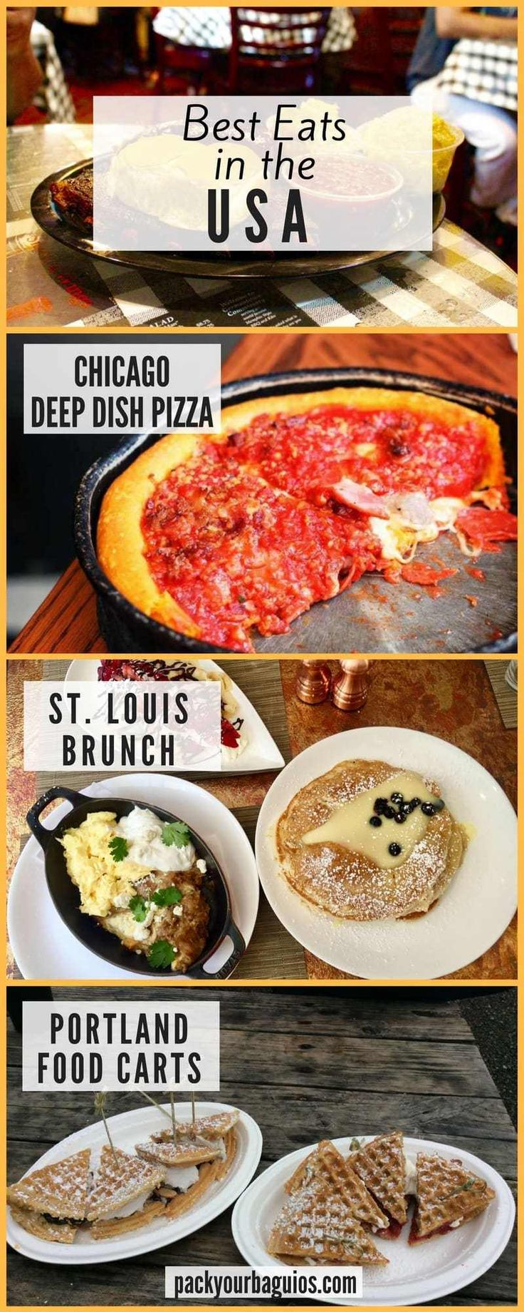 Best Eats in the USA   United States travel   United States food   Chicago Deep Dish Pizza  Denver Farm-to-Table   Kansas City Barbecue   Memphis Barbecue   Nashville Hot Chicken   Raleigh Shrimp and Grits   St. Louis Brunch   Portland Food Carts