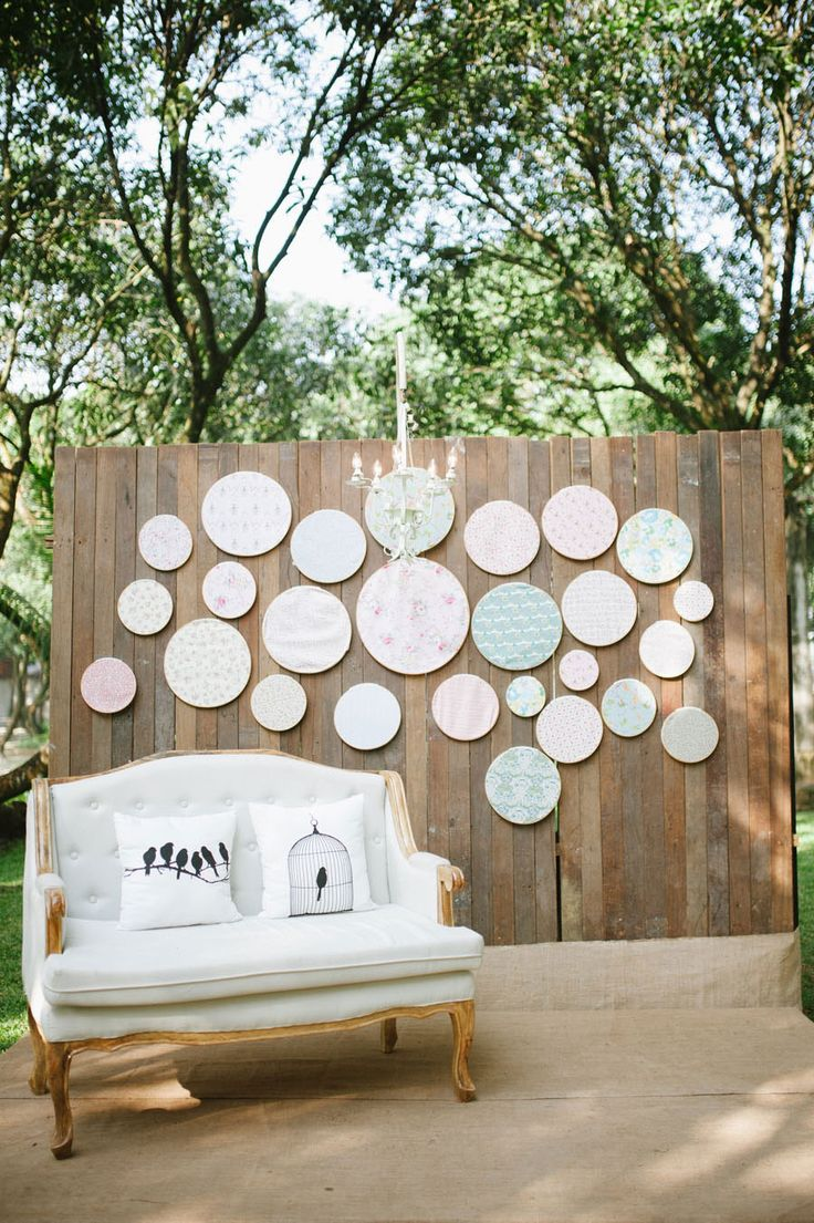 Rustic wedding backdrop with printed embroidery hoops   Ray-an and Marinelle's Beautifully Crafted Wedding at The Mango Farm