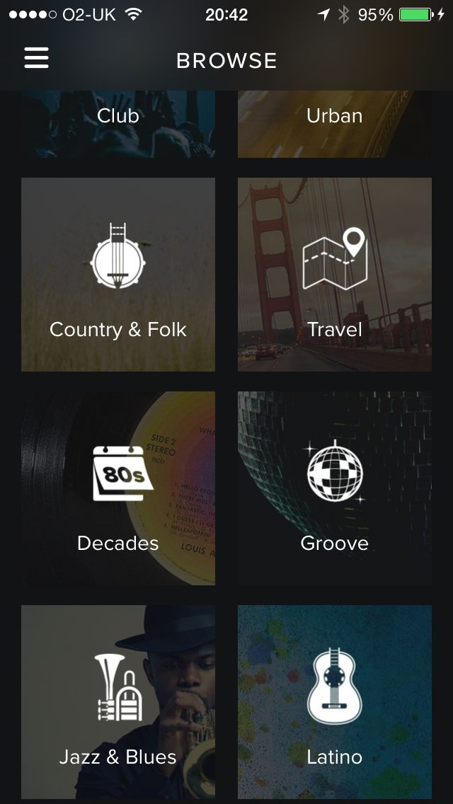 Spotify- good functionality, clean look. Does what it is supposed to do without bells and whistles.