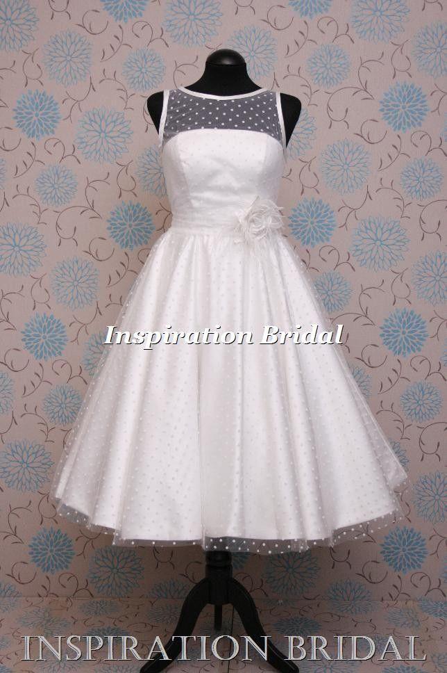 1586 short knee tea length wedding dress full circle skirt polka dot tulle satin edge inspiration bridal