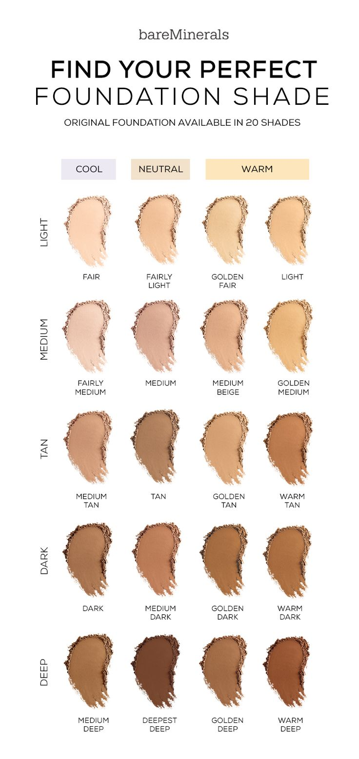 Original Foundation gives you a flawless coverage, with a no-makeup look and feel that lasts up to 8 hours. When choosing a the perfect foundation shade first find out your undertone. The tried-and-true method: Look at your veins on the underside of your wrist, Blue/Purple is Cool Undertones, Blue/Green is Neutral Undertones, and Green/Olive is Warm Undertones. One you've deciphered your undertone, it's time to go foundation shopping. Check out our shade finder on bareMinerals.com