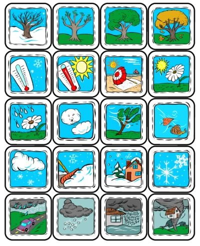 Weather Lotto -- great for PreK to 3rd grade -- includes seasons and natural disasters -- from PrintableKindergarten.com
