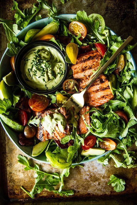 intensefoodcravings:  BLT Salmon Salad with Creamy Avocado Green Goddess Dressing | Heather Christo