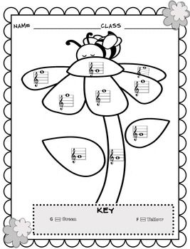 Music Coloring Sheets (Spring & Easter Color By Note