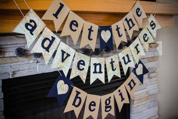 'let the adventures begin' || wedding/bridal shower/baby shower banner || etsy || banner babble || $18