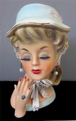 "Vtg 1950s LEGO JAPAN CERAMIC LADY HEAD VASE #7245, 6.75"" Tall HAT HAND EARRINGS"