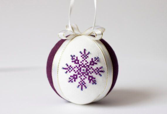 Handmade Christmas ball embroidered with cross stitch by RedPin, $20.00 #Etsy Europe, #LithuaniaTeam, #BVLifeStyle