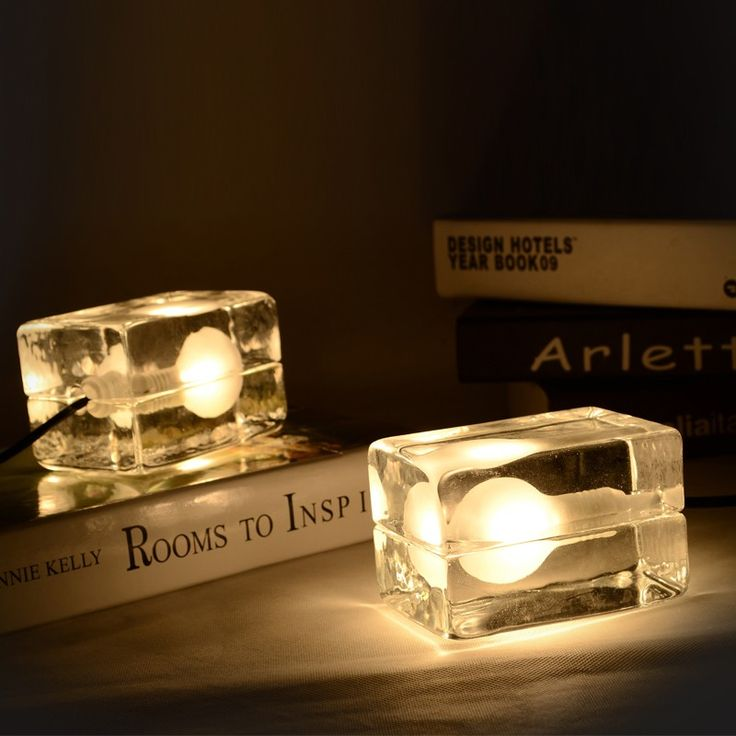 Clear Glass Ice Cube Mini Table Lamp